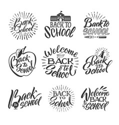 back to school set of hand writing words and vector image