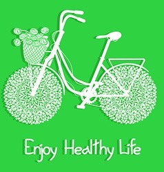 Background with eco bicycle vector