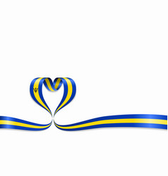 Barbados flag heart-shaped ribbon vector