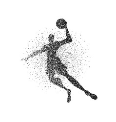 Basketball player jump particle splash silhouette vector