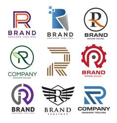 best letter r logo design set vector image