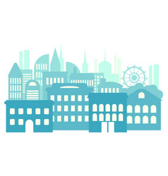 Big city metropolis high-rise buildings blue vector