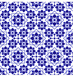 Blue and white decorative tile vector