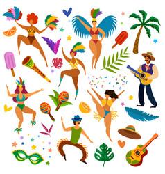 Brazilian carnival latino festival masquerade vector