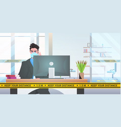 businessman in mask sitting at workplace desk vector image