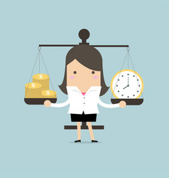 businesswoman balancing time and money vector image
