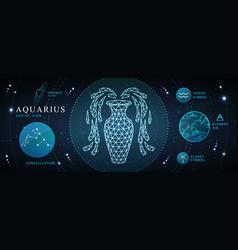 Card with astrology neon aquarius zodiac sign vector