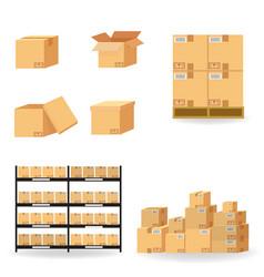 Cardboard boxes carton collection delivery vector