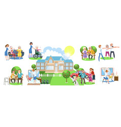 cartoon set of different activities in nursing vector image