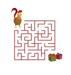 Christmas game rooster in the maze vector image