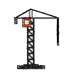 color crayon stripe cartoon tall crane of building vector image