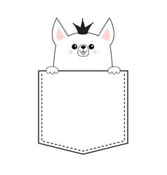 Corgi princess crown dog happy face head icon in vector