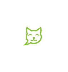 creative pet cat head bubble chat logo vector image