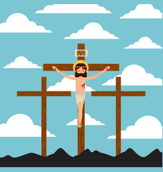 Crucifixion of jesus christ three crosses vector
