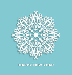 Cut out white snowflake on a blue background vector