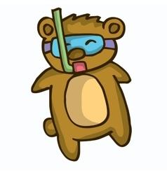 Cute cartoon beaver diving vector image