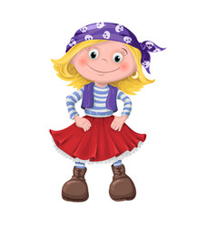 Cute girl of children pirates vector