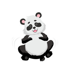 Cute happy baby panda bear smiling lovely animal vector