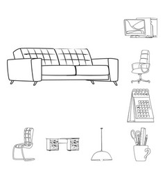 design furniture and work icon vector image
