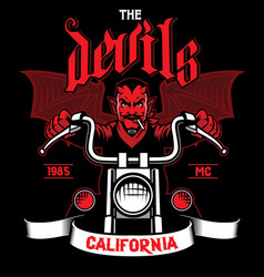 Devil rides the motorcycle vector