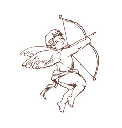 Drawing of adorable cupid with bow aiming or vector