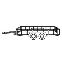 Dump trailer cargo wheel transport outline vector