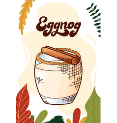 Eggnog cup hot drink for christmas menu vector