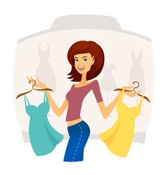 Fashion shopping girl on sales in shopping mall vector