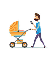 Father walking with child lying in pram and vector