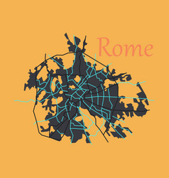 Flat city map of rome with well organized vector