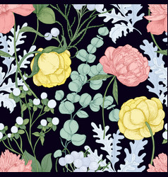 floral seamless pattern with blooming peonies vector image