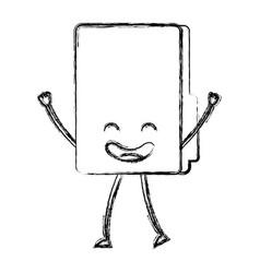folder document kawaii character vector image