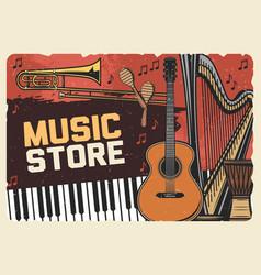 Folk music instruments store retro poster vector