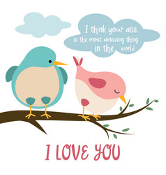 funny card with birds in love vector image