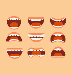 Funny cartoon human mouth teeth and tongue with vector