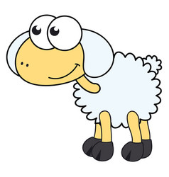 funny sheep on white background vector image