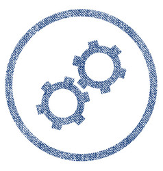 gears fabric textured icon vector image