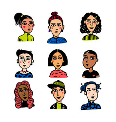 girl power movement doodle style girl portraits vector image