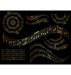 gold musical design elements - set vector image