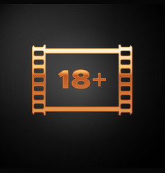 Gold play video with inscription 18 plus icon vector
