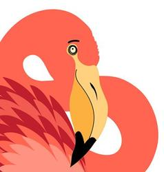 Graphic portrait of a beautiful red flamingo vector