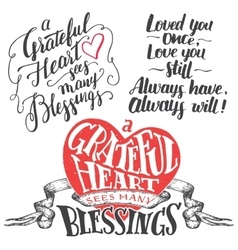 Grateful heart hand lettering set vector