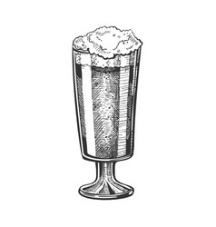 hand drawn glass with froth bubble beer vector image