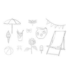 hand drawn lineart summer vacation set vector image