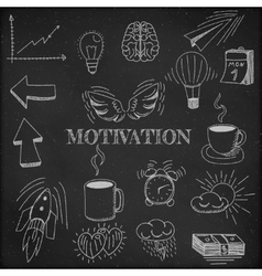 Hand drawn set of motivation vector image