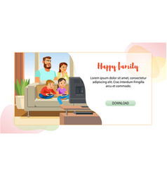 Happy family web page cartoon template vector