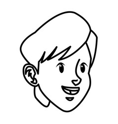 Head boy young facial expression line vector