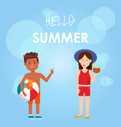 Hello summer square banner cute kids in swimsuit vector