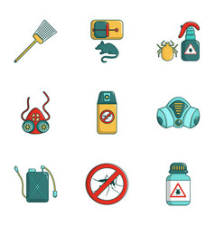 Insect control icons set cartoon style vector