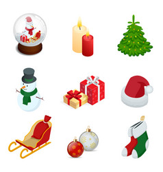 isometric set year holiday vector image